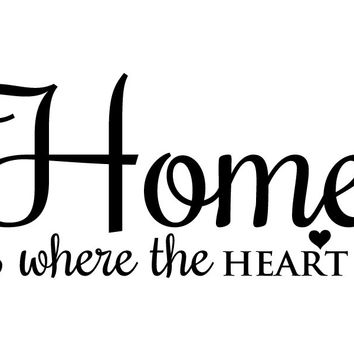 Home is Where the Heart Is Wall Quote Wall Vinyl Graphics Family Living Room Home Decor
