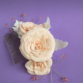 Wedding Hair Natural bride Original comb Bridal flower comb Woodland styles Crystal bridal comb Bridal accessory Rhinestone comb Gift Idea
