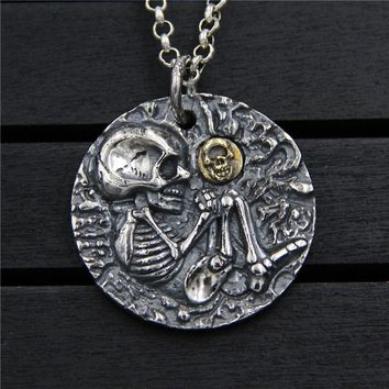 925 Sterling Silver Pendant Necklace engraving skulls men and women Fine Jewelry