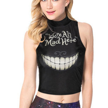 We Are All Mad Here Print Turtleneck Sleeveless Bodycon Cropped Top