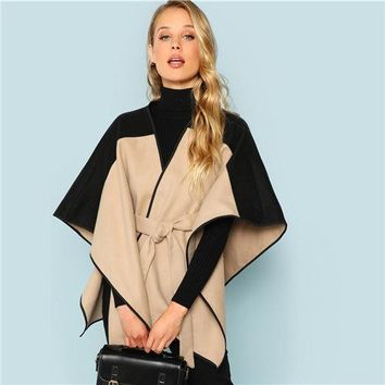 Khaki Fashion Cut and Sew Lace Up Belted  Modern Lady Highstreet Coat