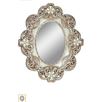 Vintage mirror with pearls and crystal