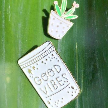 Good Vibes n' Succulents Enamel Pins