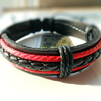 Christmas Present Winter Fashion Stylish Cute Black Leather Cuff Braid Leather tube Weaved Red Cotton Cords Wrap Bracelet C-77