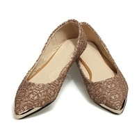 Sweet Casual Women's Flat Shoes With Lace and Metal Toe Design