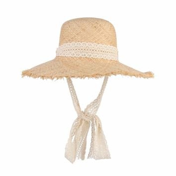 Simple Fashion Women Summer Hats Large Raffia Straw Hat Lace Ribbon Lace-Up Beach Caps Fashion Ladies Panama Sun Hat