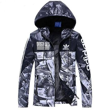 """Adidas"" Trending Casual Women Men Print Zip Cardigan Jacket Hoodie Coat Sweatshirt Lovers Windbreaker Black"