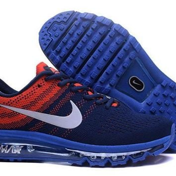 Nike Air Max 2017. Dark Blue, Orange & White. Men's Running Shoes Sneakers
