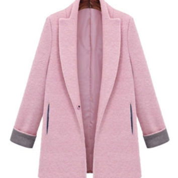 Baby Pink Heather Grey Trim Boyfriend Coat