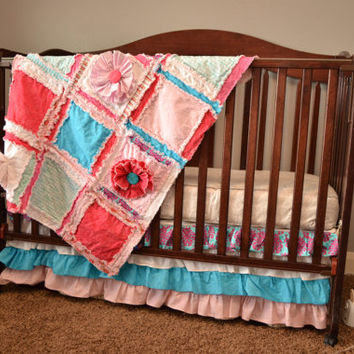RAG QUILT, Small Baby Blanket, Ruffled Flower, Crib, Custom, Made to Order