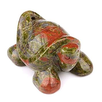 Amulet Unakite Turtle Carving Evil Eye Protection Powers Pocket or Desk Totem with Pouch