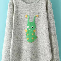Grey Caterpillar Print Knit Long Sleeve Sweater