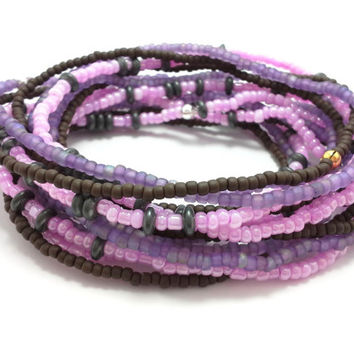Seed bead wrap stretch bracelets, stacking, beaded, boho anklet, bohemian, stretchy stackable multi strand, pink purple black brown hematite