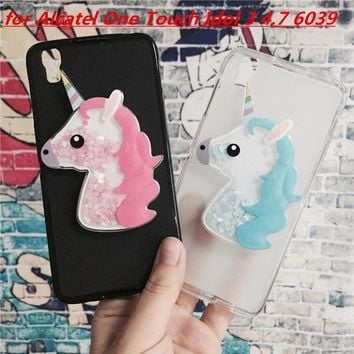 3D Unicorn Quicksand Liquid Soft Silicone Case for Alcatel One Touch Idol 3 4.7 OT-6039 6039A 6039K 6039Y Phone Cover Funda