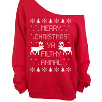Merry Christmas Ya Filthy Animal- Ugly Christmas Sweater - Red Slouchy Oversized CREW