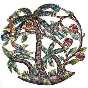 Colorful Palm Trees Hand Painted Metal Wall Art (GC)