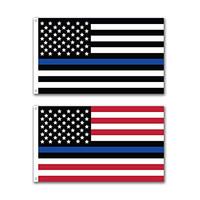 2 Pack -- Thin Blue Line Patriotic USA American Flag -- 3x5ft with Grommets -- Honoring our Men and Women of Law Enforcement -- Show Pride for Your Local Police