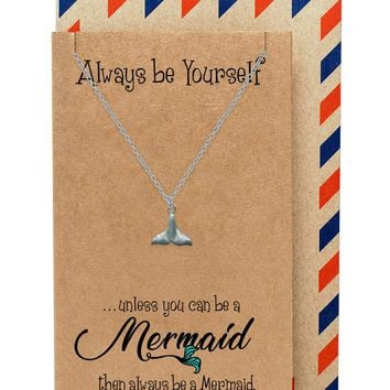 Beverly Tail of Mermaid Necklace for Women, comes with Inspirational Quote