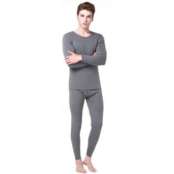 DCCKJG2 Men 2Pcs Cotton Thermal Underwear Set Winter Warm Thicken Long Johns Tops Bottom 3 Colors