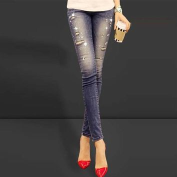 New 2017 Blue ripped women jeans long Slim Fit denim pants diamonds rhinestones holes skinny pants stretch lady jeans Women
