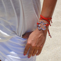 BOHO Silver Flower Double Wrap Suede Bracelet / Necklace