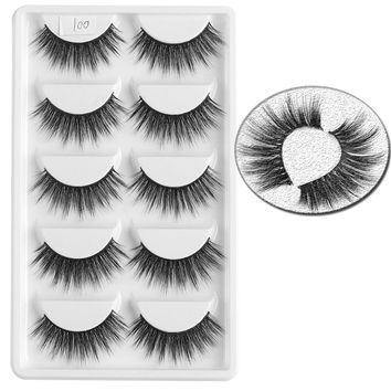 5 Pair Stylish Handmade 100% Mink Hair False Eyelashes Natural Long Voluminous Wispy Full Strip Eye Lashes Makeup Extension Tool