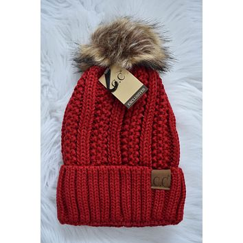 Pom Pom Knit Beanie, Red