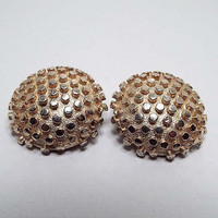 Vintage Clip on Earrings, Gold Tone Bumpy Round, Mid Century 1960s 60s