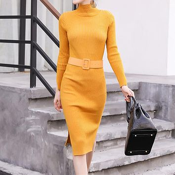 Simple Fashion Solid Color Turtleneck Long Sleeve Bodycon Knit Sweater Dress