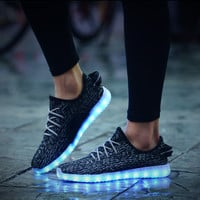 2016 Women Men chaussure tennis Led simulation Light up  trainers led basket shoes Luminous with usb for adults femme Female