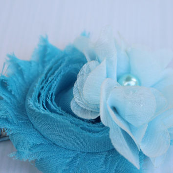 blue hair clip frozen flower girl hair clip blue flower hair accessory elsa hair clip flower light blue hair accessories toddler hair clip