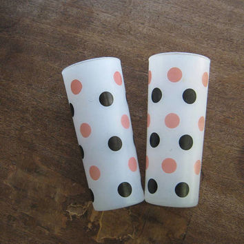 "Pair of Hazel Atlas Milk Glass Tumblers with Black & Pink Polka Dots~6"" Midcentury Drink Glasses; Black/Pink Retro Serving"