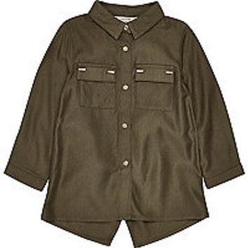 Mini girls khaki metallic trim shirt
