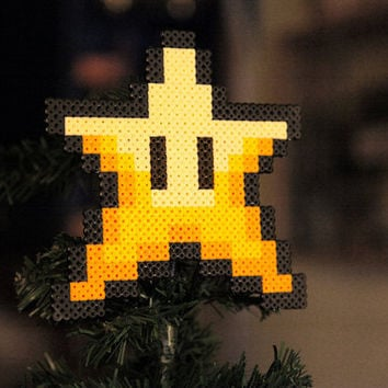 Retro Christmas Star Tree Topper Super Mario Bros Inspired