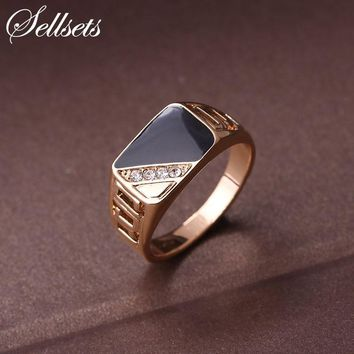 Sellsets Fashion Male Jewelry Classic Gold Color Rhinestone Wedding Ring Black Enamel Rings For Men Christmas Party Gift