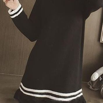 Streetstyle  Casual Black Plain Peplum Round Neck Long Sleeve Slim Knit Junior Cute Mini Dress