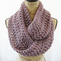 Ready To Ship Light Purple Infinity Crochet Scarf Cowl Loop Circle Accessory