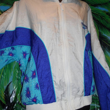 Vintage 80s 90s Reebok Windbreaker Neon Bullet Hole Print Awesome Rad Size Medium
