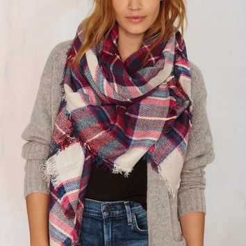 Leeza Plaid Scarf - Pink