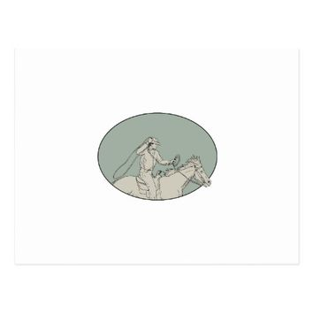 Cowboy Riding Horse Lasso Oval Drawing Postcard