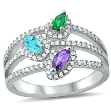 .925 Sterling Silver Amethyst Emerald Aquamarine Marquise Pear Oval Cut Three Band Ladies Ring Size 5-10