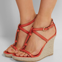Burberry Shoes & Accessories   Textured-leather espadrille wedge sandals   NET-A-PORTER.COM