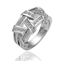Geometry white Gold Plated Ring