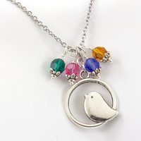 Mothers Birthstone Necklace, Mama Bird Mothers Necklace, Choose Up to 4 Birthstones.
