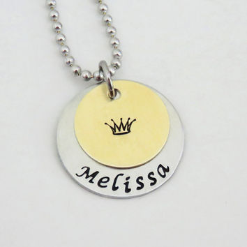 Personalized princess pendant necklace - Brass and silver tone princess crown pendant necklace - Gift for her - Princess gift