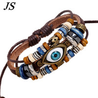 JS Charm Wood Beads Braclet Men Genuine Leather Friendship Bracelet Women Vintage Ethnic Turkey Hamsa Kabbalah Jewelry  LB037