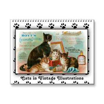 Cats in Vintage Illustrations 2014 Calendar from Zazzle.com