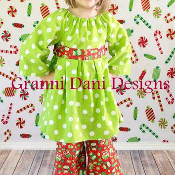 Christmas holiday lime green owl  red polka dot  peasant twirl  top and pant set baby toddler girls 12 18 24 months 2t 3t 4t 5t