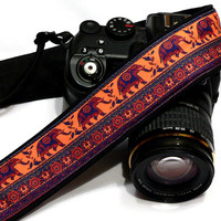 Lucky Elephants Camera Strap,  dSLR Camera Strap, SLR Camera Strap, Black, Red, Orange, Purple Camera Strap. Men, Women Accessories