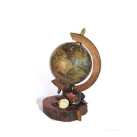 Vintage globe. World globe. Globe art. Boy room decoration. Shelf decoration. Desk decorations. Antique worls map. Small globe. Upcycled.